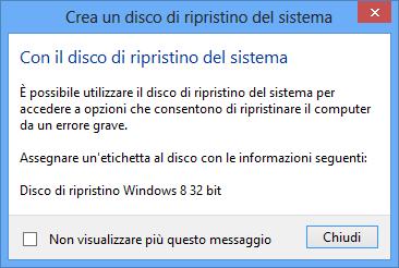 come creare un disco di ripristino windows 8
